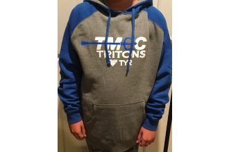 Independent Trading Company Heather Grey and Blue Hoodie Sweatshirt